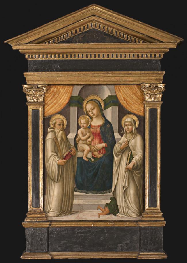 Madonna con Bambino in trono, San Benedetto e Santa monaca