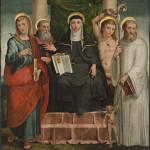 Santa Scolastica in trono e i Santi Giovanni Evangelista, Antonio Abate, Sebastiano e Bernardo di Chiaravalle